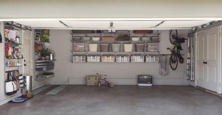 organized garage photo using utility bins
